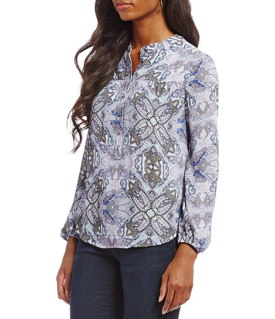 Democracy Long Sleeve Hi-Lo Printed Top
