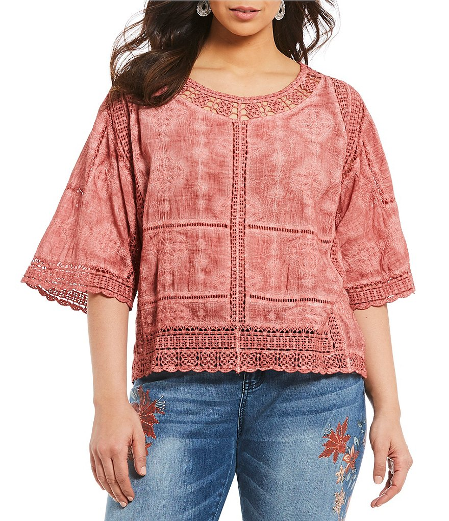 Democracy Plus Crochet Bell Sleeve Top