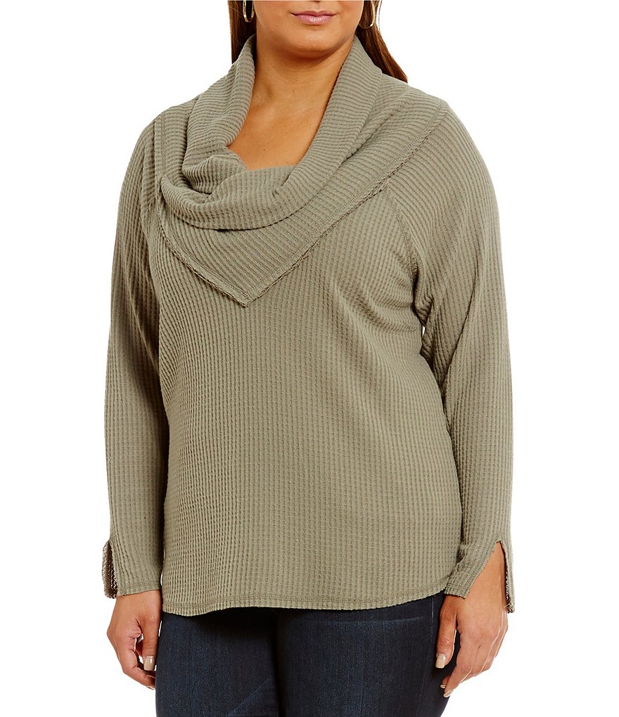 Democracy Plus Envelope Drape Neck Lightweight Brushed Thermal Pullover