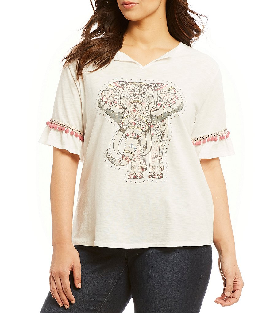 Democracy Plus Flutter Sleeve #double;Elephant#double; Screen Print Tee