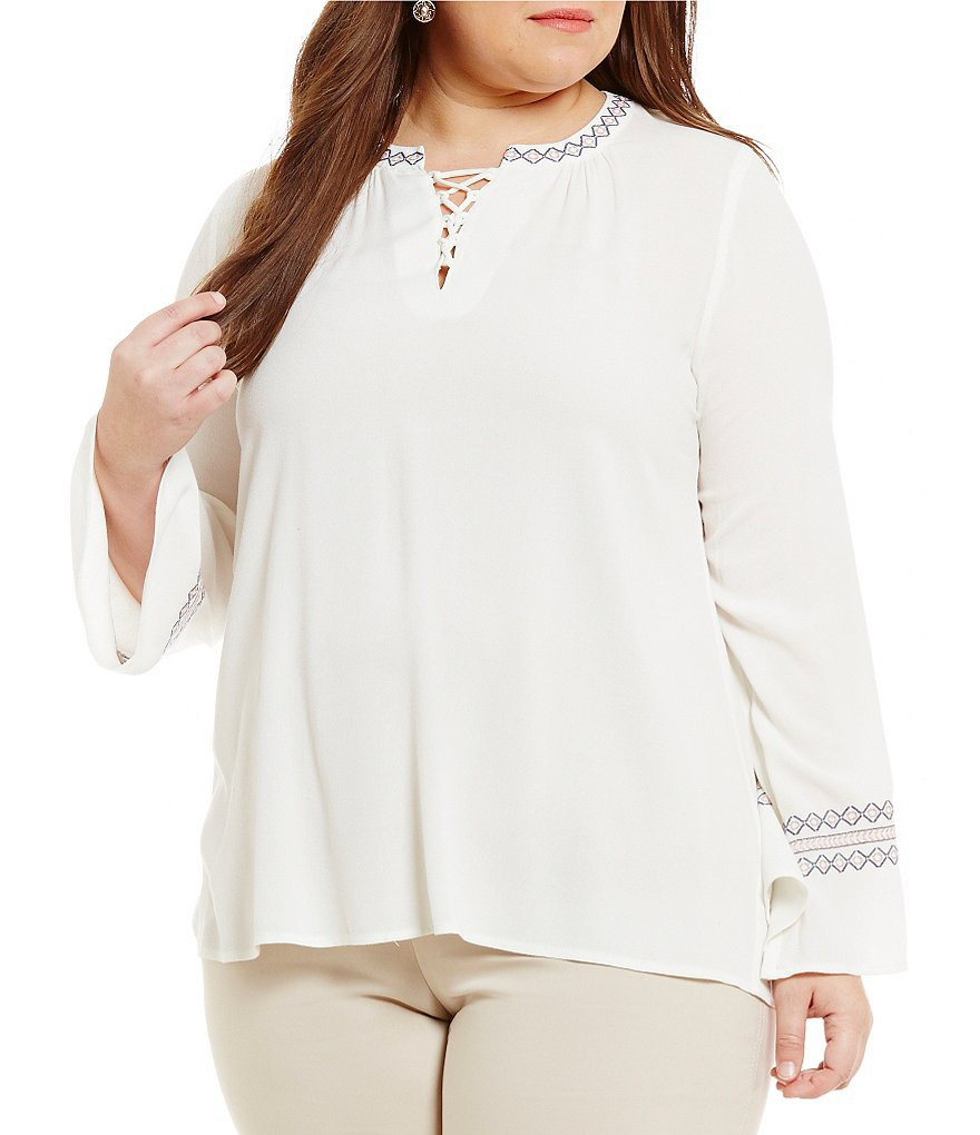 Democracy Plus Lace Up Front Textured Crepe Embroidered Tunic
