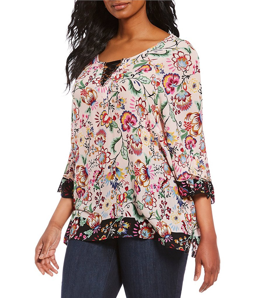 Democracy Plus Lace-Up Neckline Double Flounce Sleeve Border Print Top