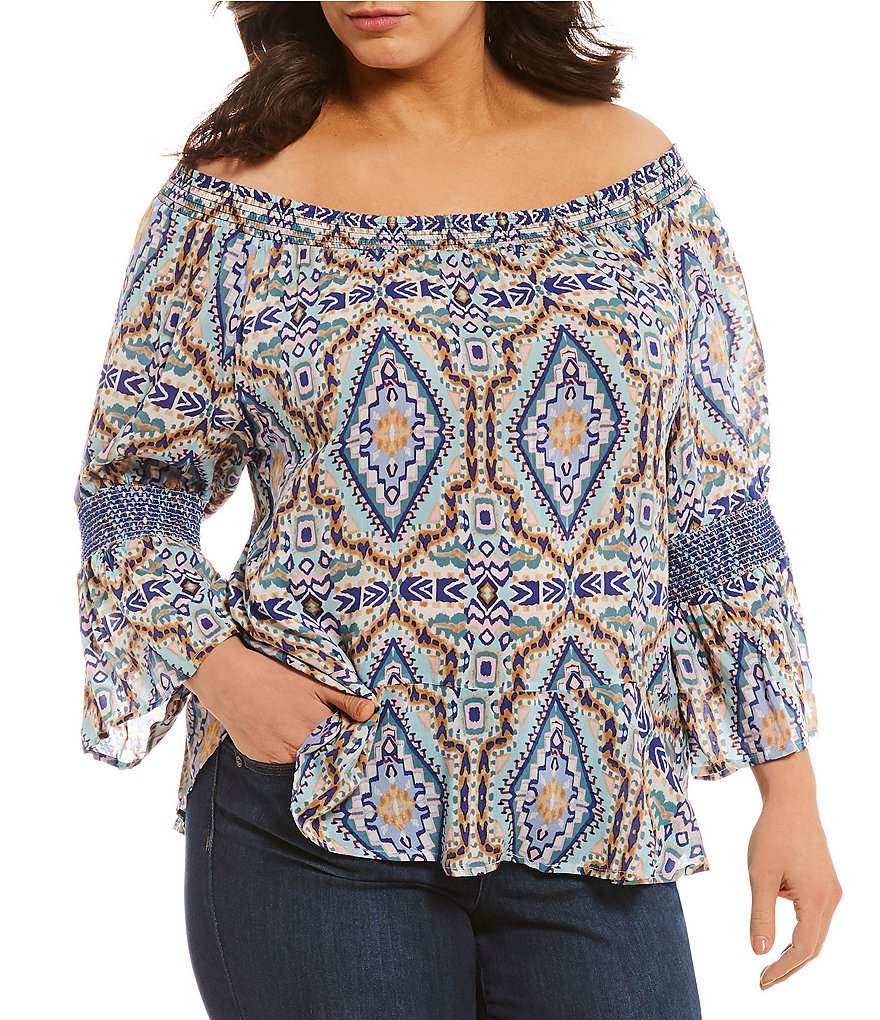 Democracy Plus Off-The-Shoulder Printed Flounce Hem Top