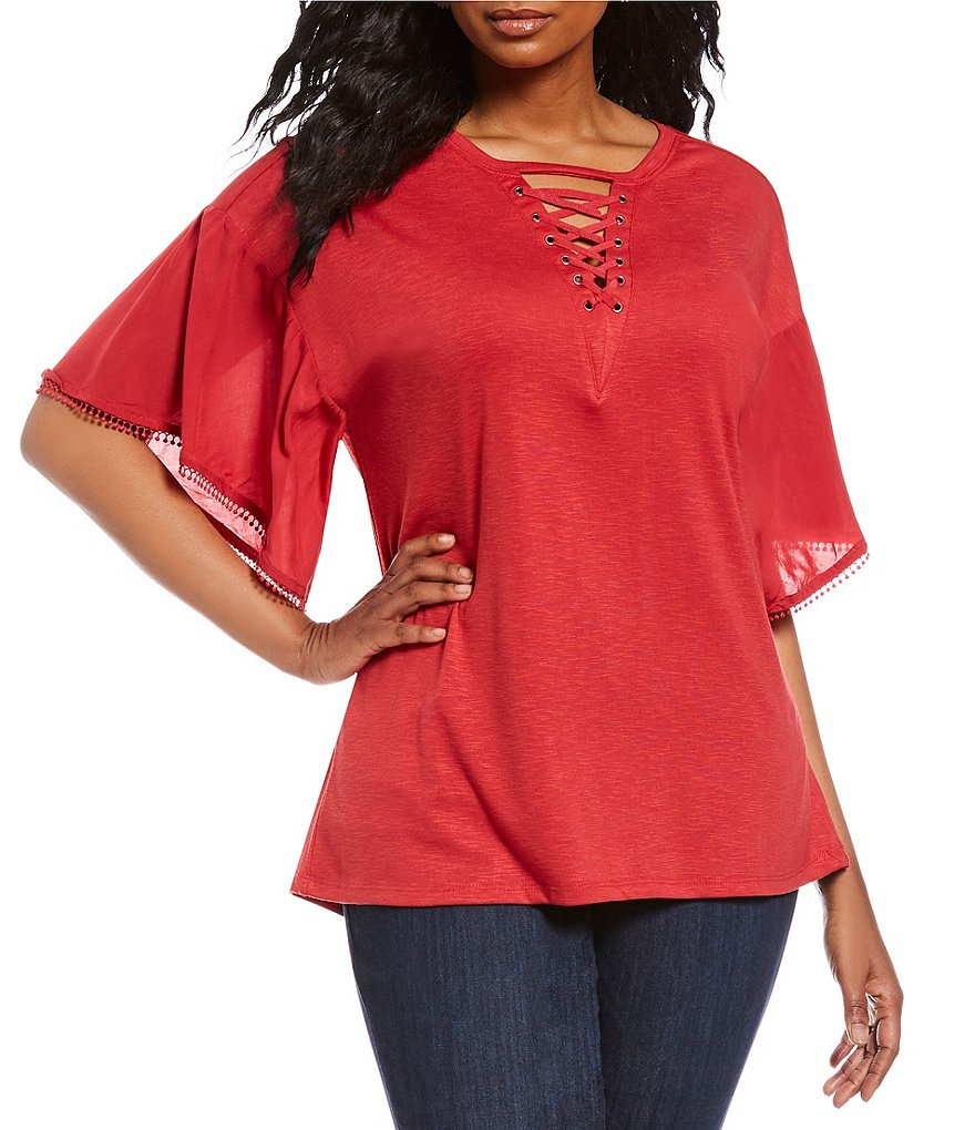 Democracy Plus Short Flounce Sleeve Lace-Up Tee