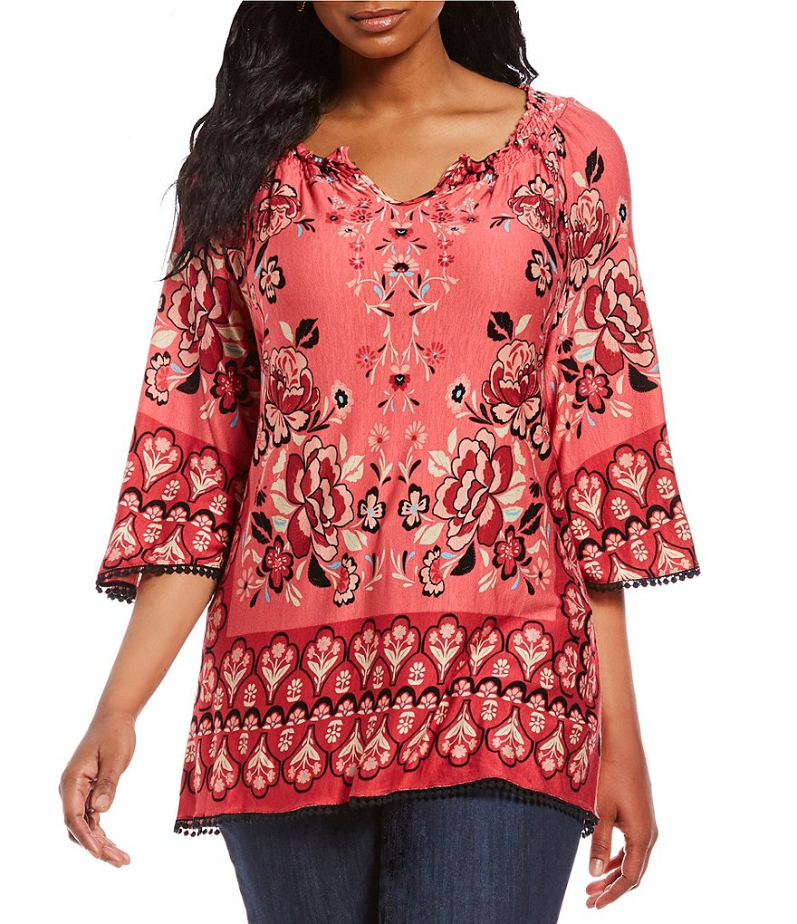 Democracy Plus Smocked Split V-Neck Floral Border Print Top