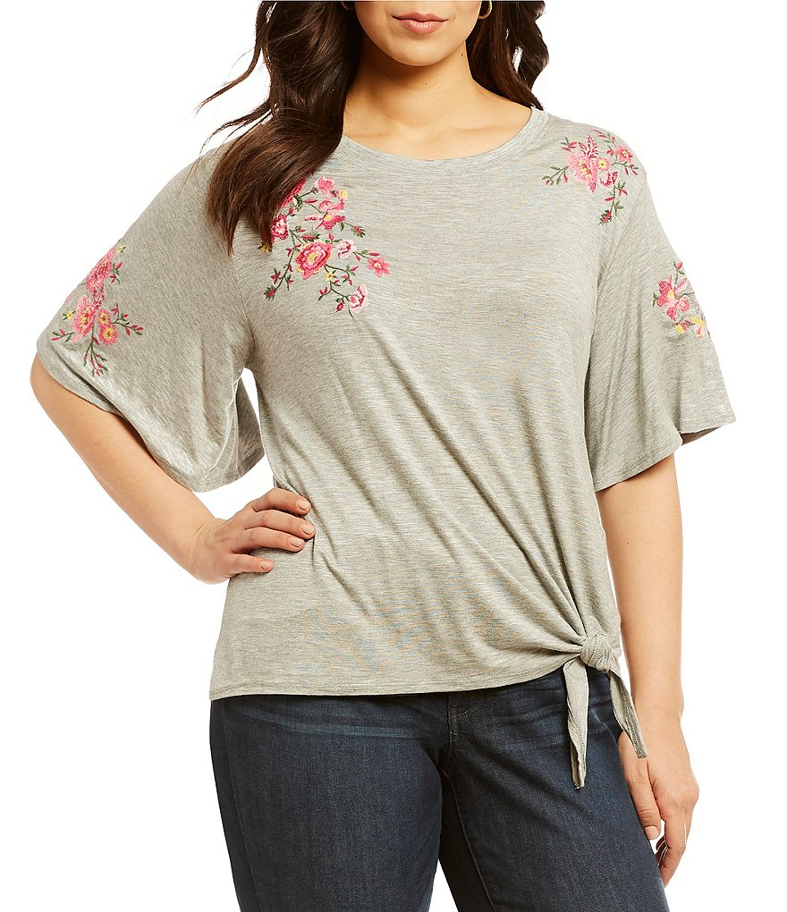 Democracy Plus Tie Front Detail Floral Embroidered Tee