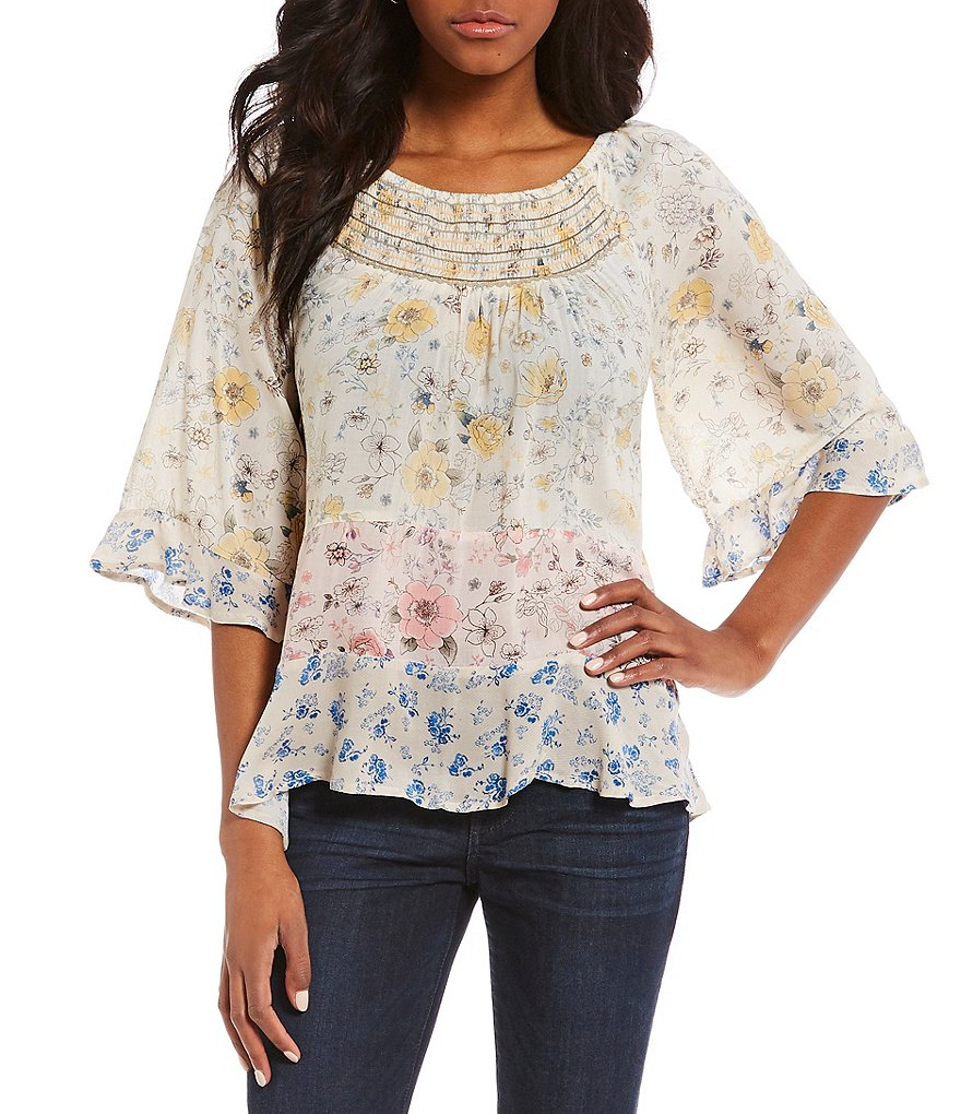Democracy Smocked Neck Mixed Floral Print 3/4 Flare Sleeve Blouse