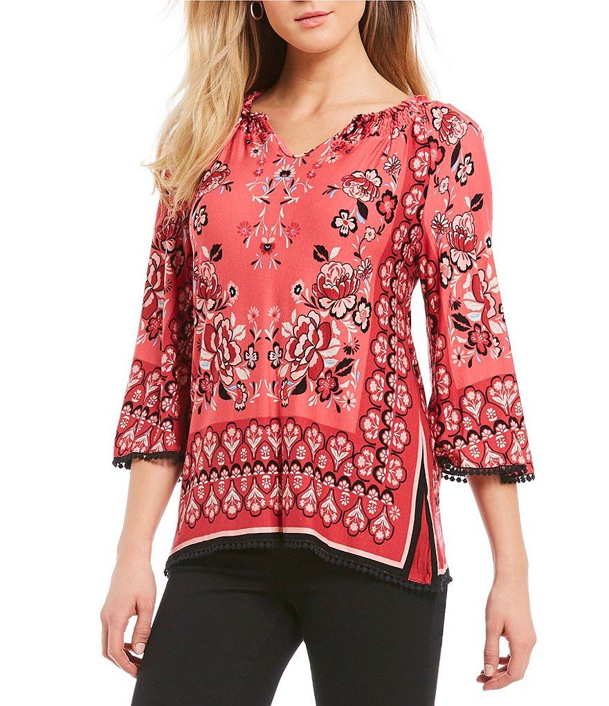 Democracy Smocked Split V-Neck Floral Border Print Top