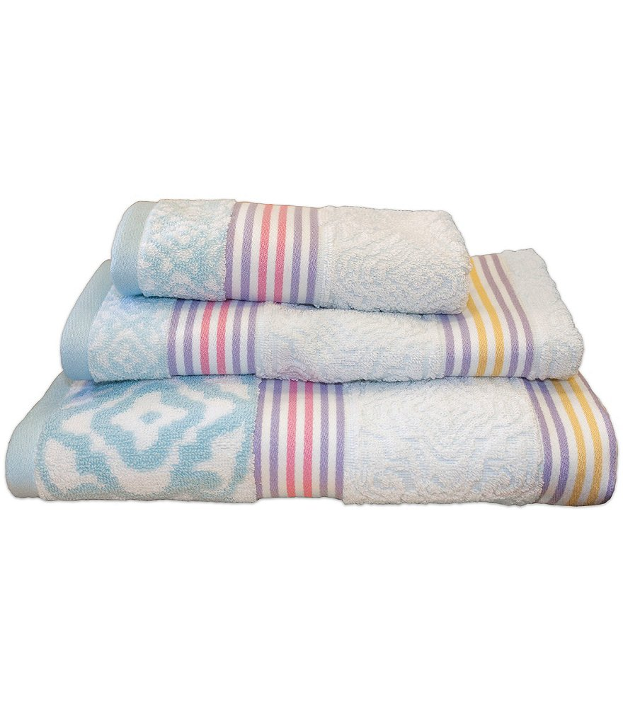 Dena Home Lilly Medallion-Striped Bath Towels