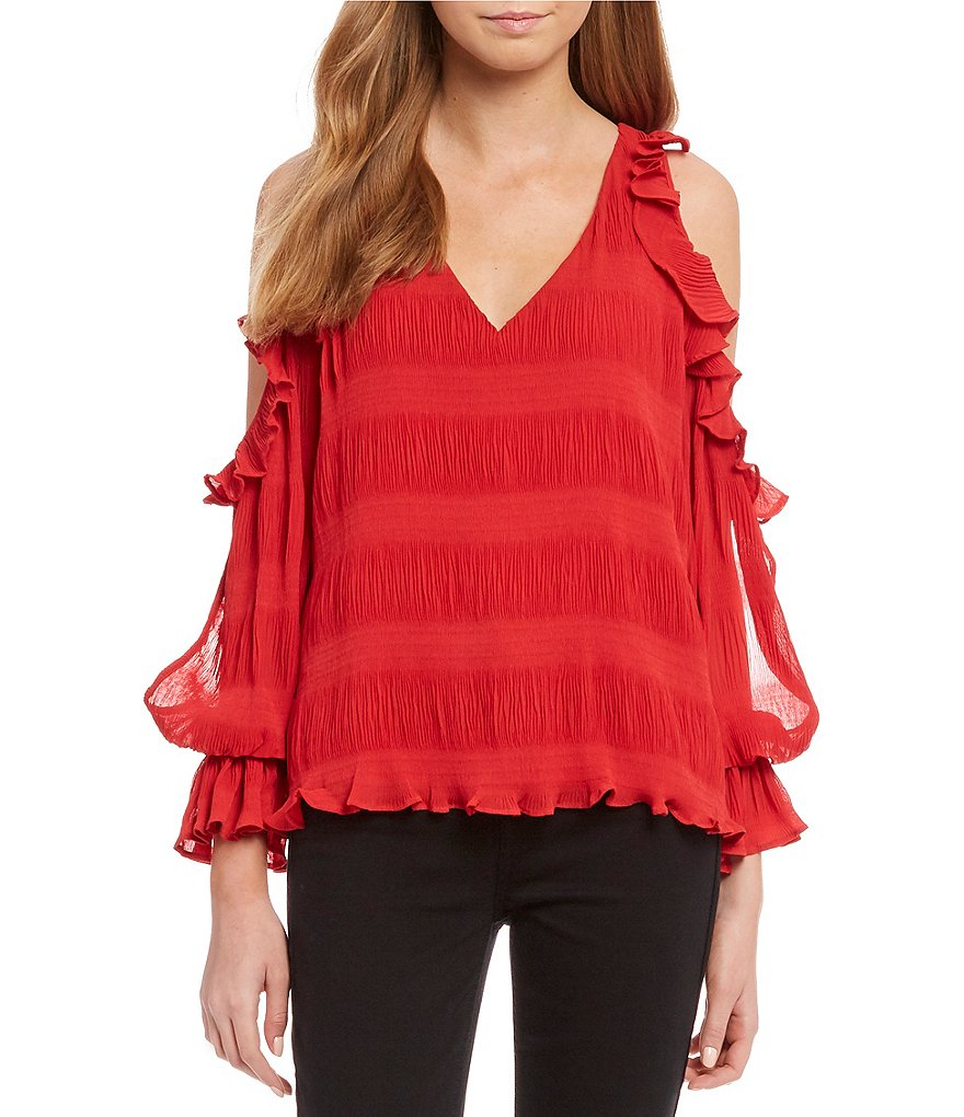 devlin Topaz Cold Shoulder Ruffle Sleeve Blouse