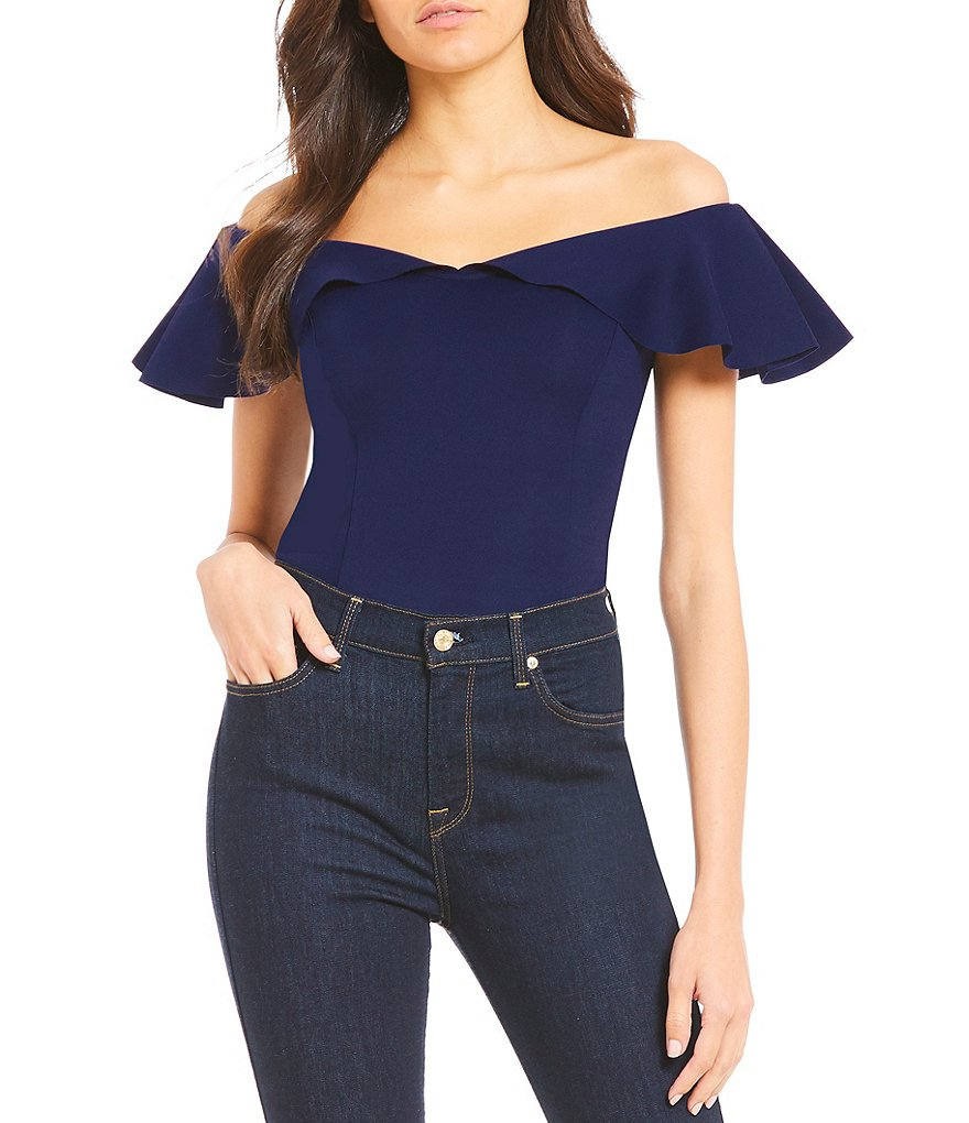 devlin Willa Flutter Short Sleeve Off-the-Shoulder Bodysuit