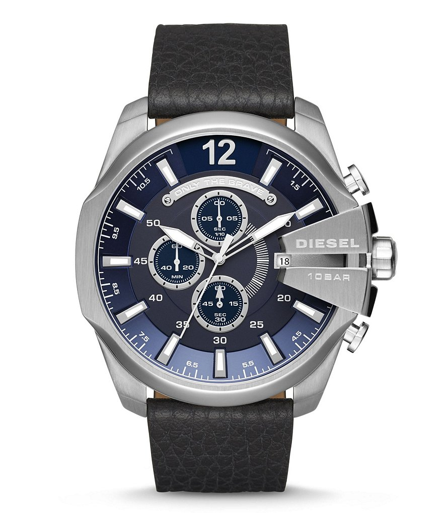 Diesel Mega Chief Chronograph Leather-Strap Watch