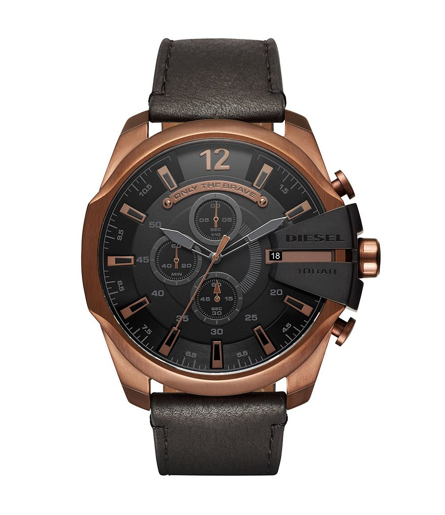 Diesel Mega Chief Rose Gold-Tone and Black Leather Chronograph Watch