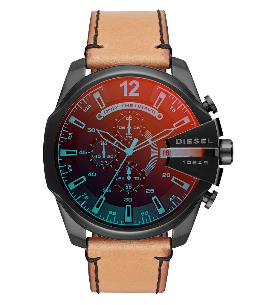 Diesel Men's Mega Chief Black IP and Brown Leather Watch