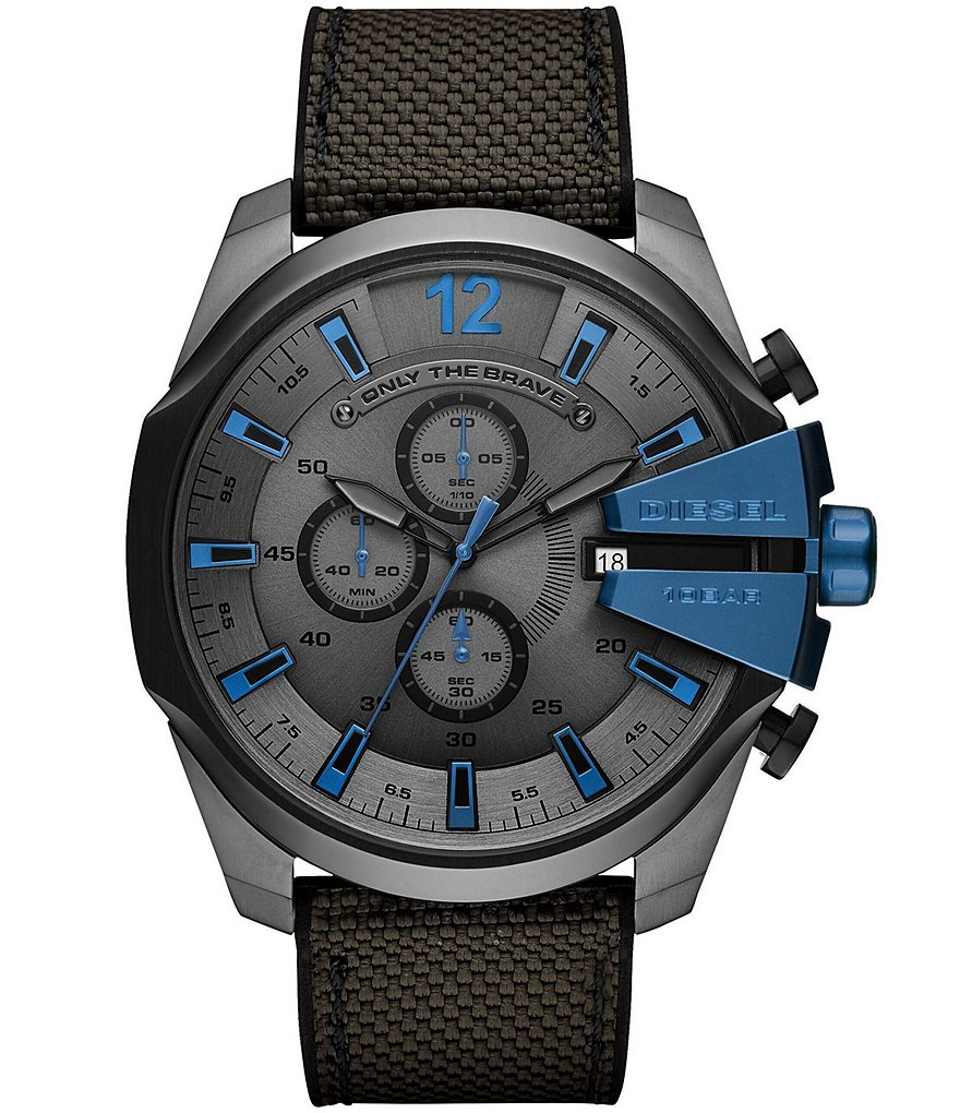 Diesel Men's Mega Chief Chronograph Black and Gray Nylon Watch