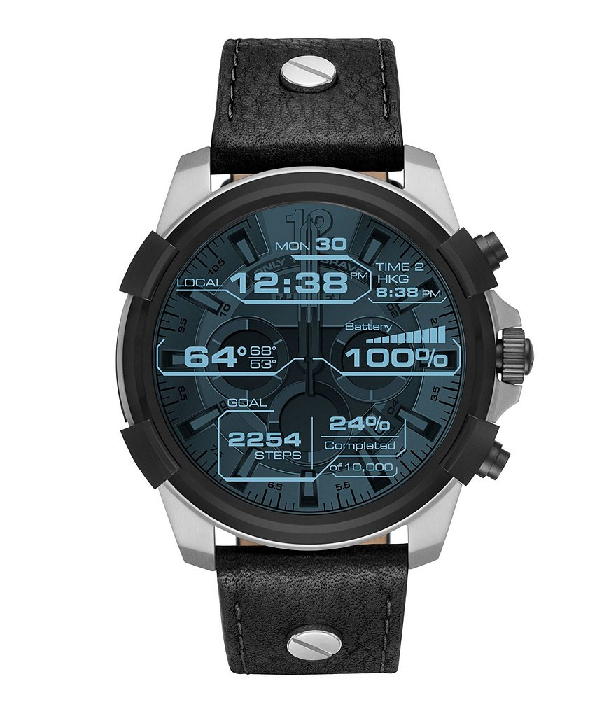 Diesel On Full Guard Leather-Strap SmartWatch