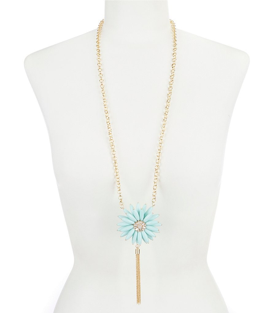 Dillard's Flower Tassel Pendant Necklace