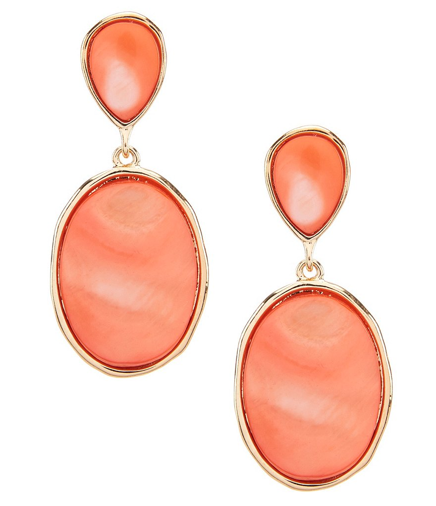 Dillard's Large Oval Double Drop Earrings