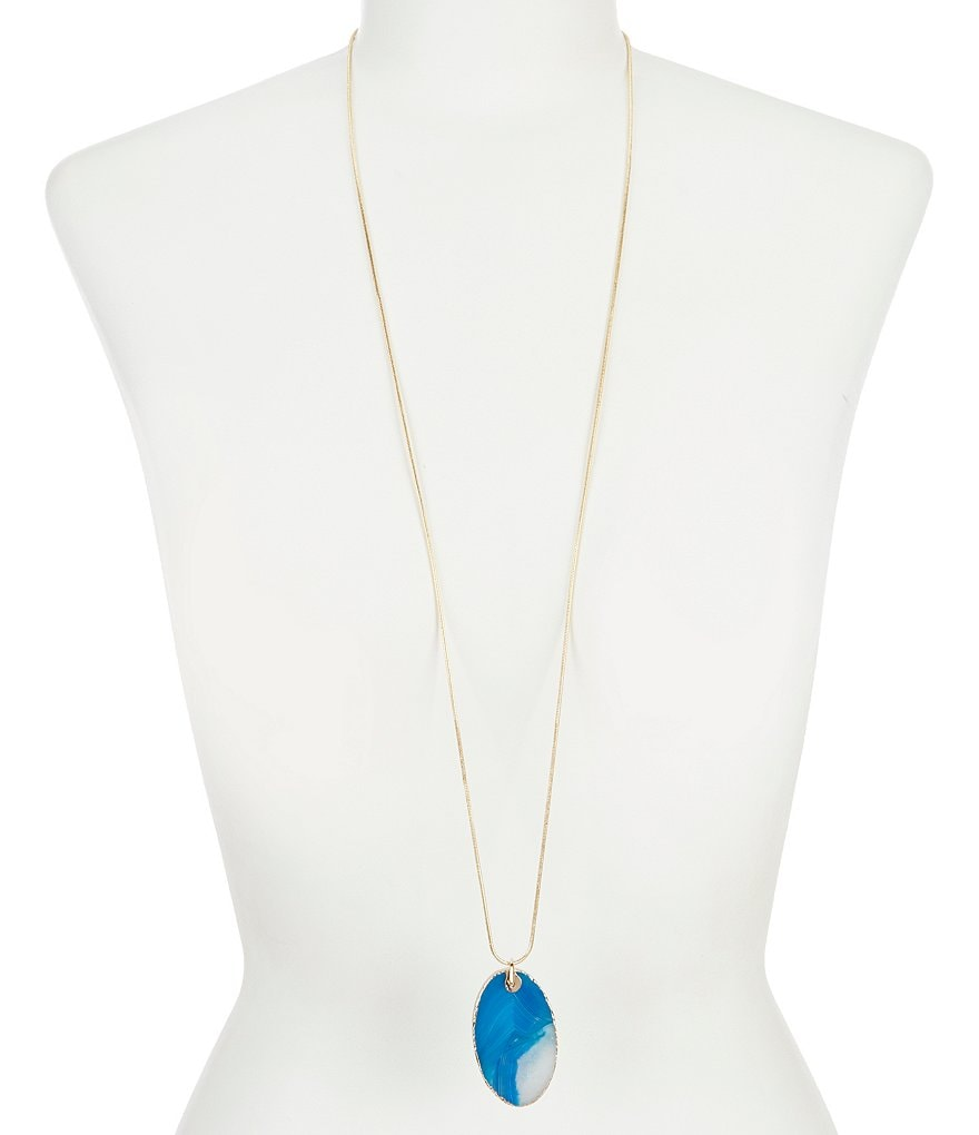 Dillard's Tailored Agate Long Pendant Necklace