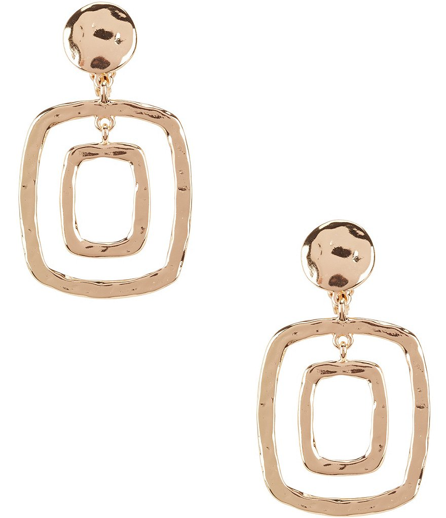 Dillard´s Tailored Flat Square Clip-On Drop Earrings