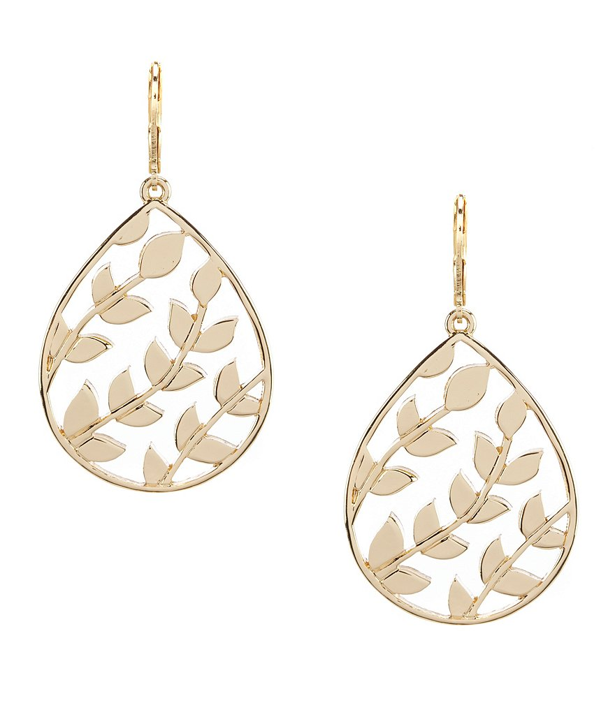Dillard's Tailored Open Leaf Drop Earrings