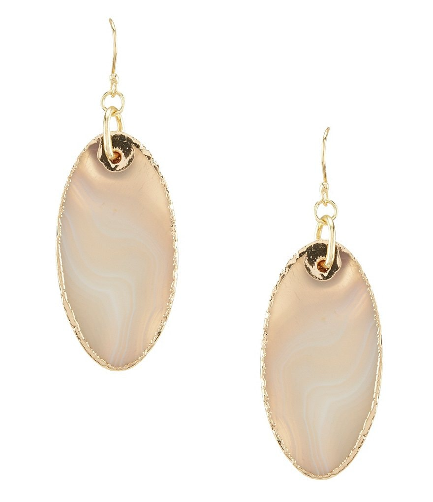 Dillard's Tailored Oval Agate Drop Statement Earrings