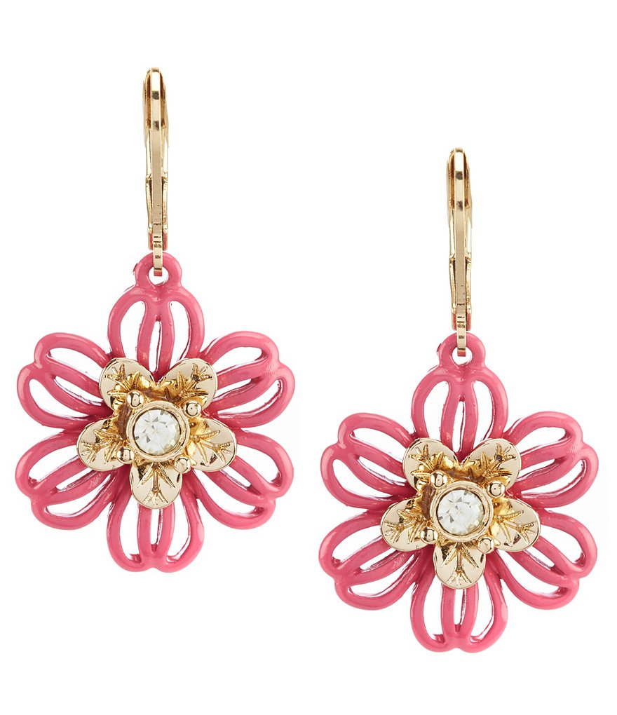 Dillard's Tailored Pink Flower Drop Earrings
