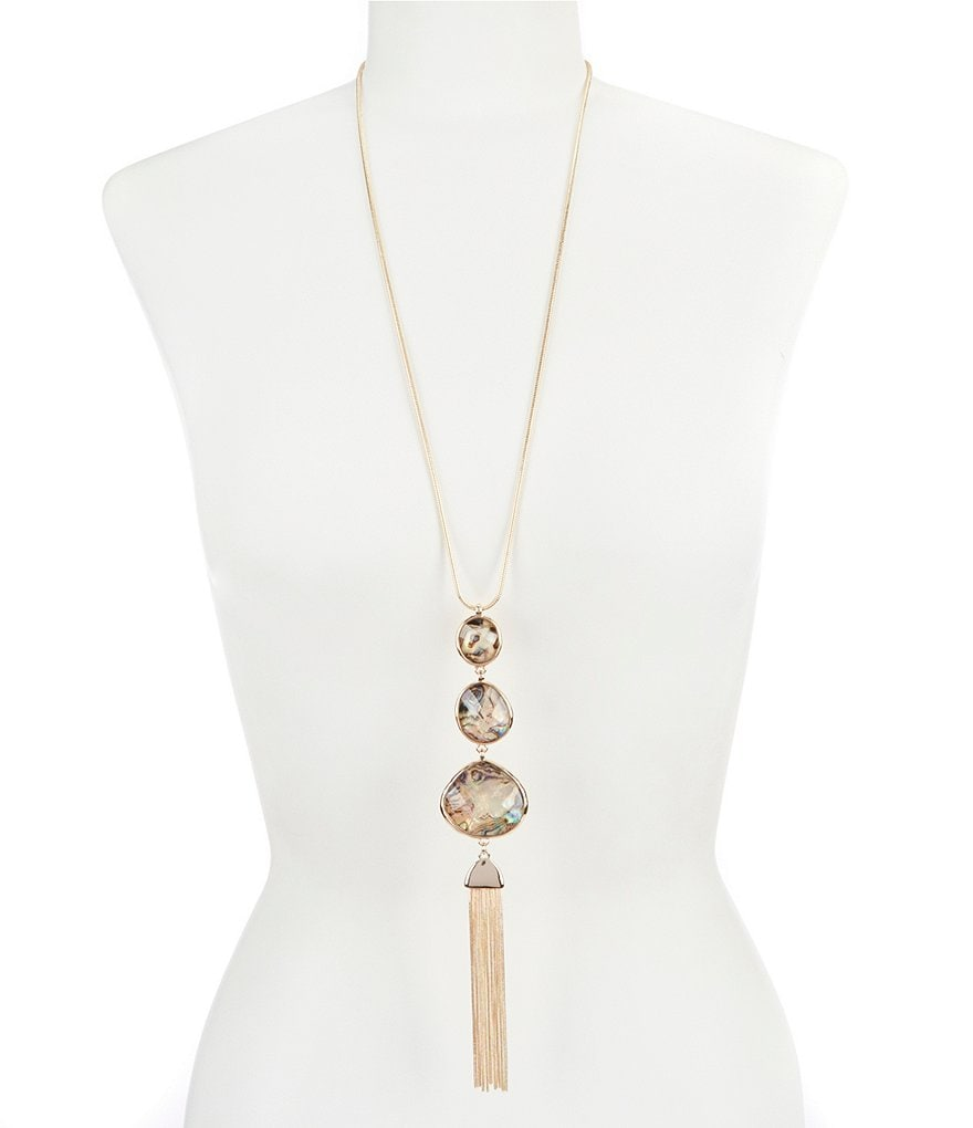 Dillard's Tailored Round Natural Stone Tassel Necklace