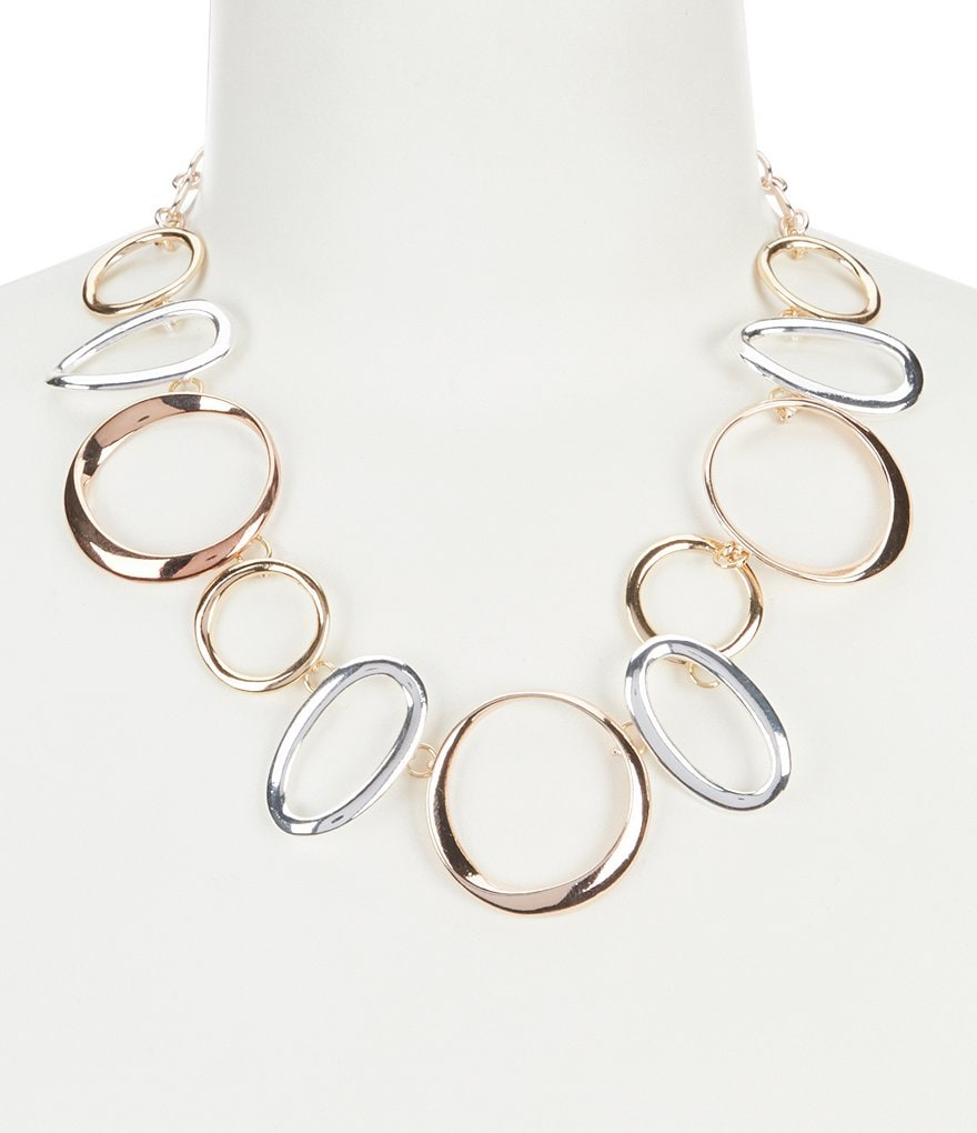 Dillard's Tailored Tritone Oval Metal Collar Statement Necklace