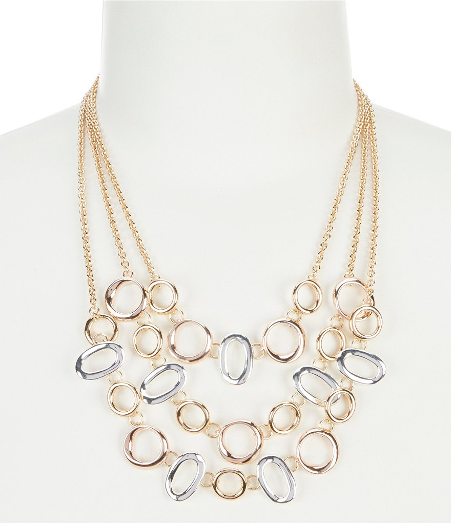 Dillard's Tailored Tritone Three Row Collar Statement Necklace