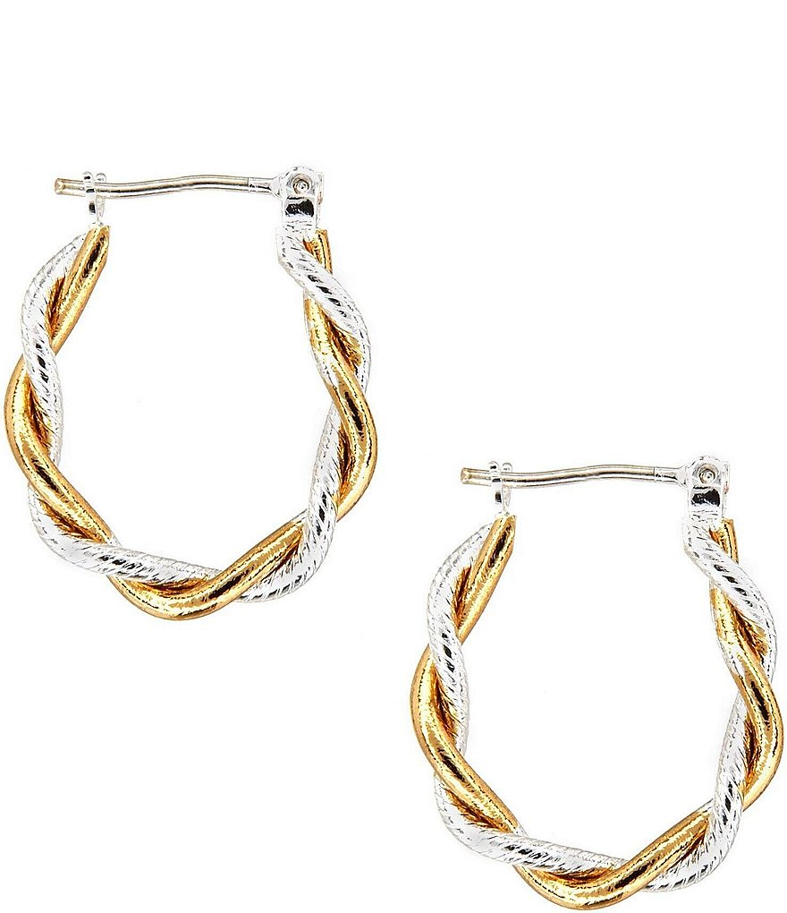 Dillard's Tailored Two-Tone Hoop Earrings