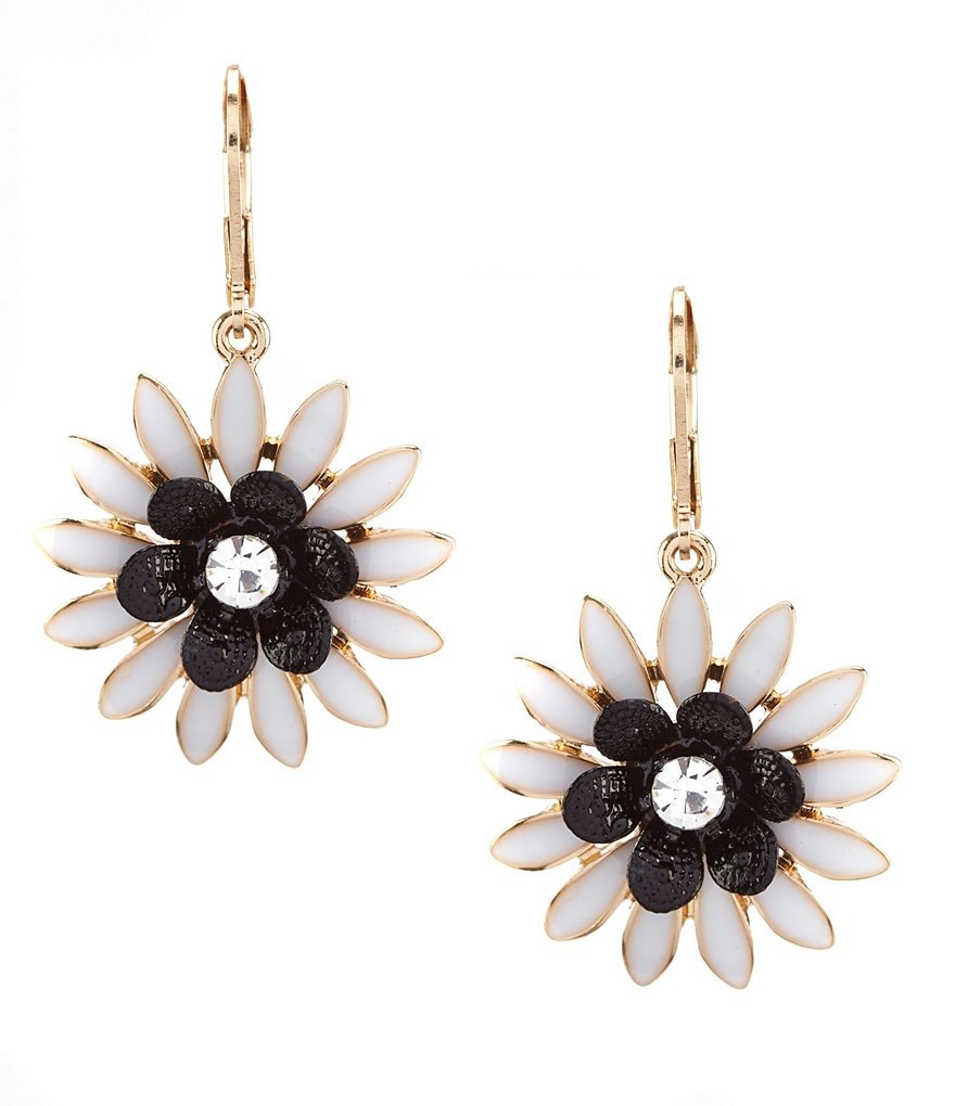Dillard's Tailored White Flower Drop Statement Earrings