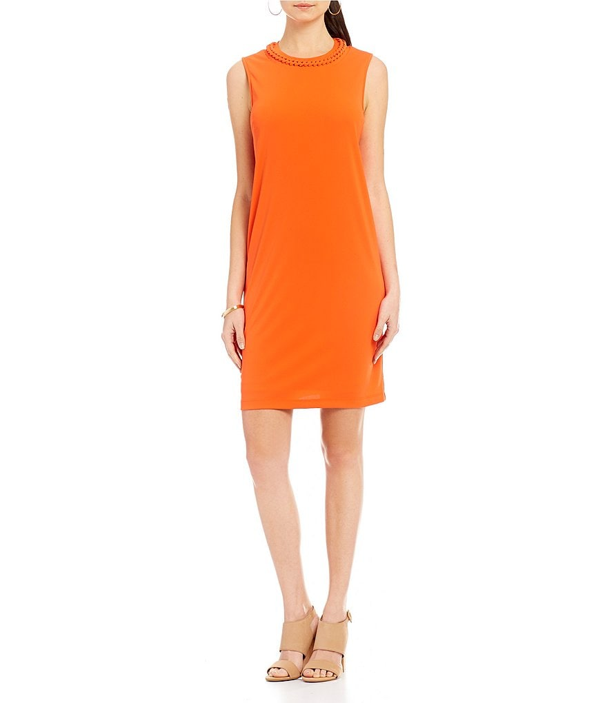 Donna Karan New York Braided Mock Neck Shift Dress