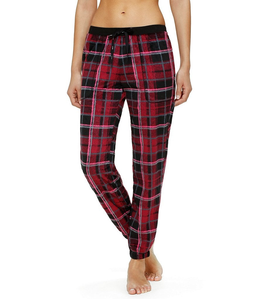 DKNY Plaid Microfleece Jogger Sleep Pants