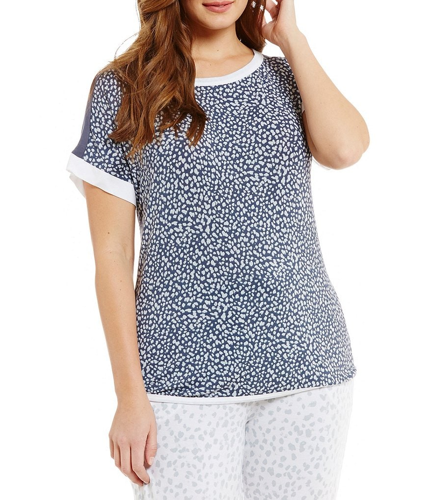 DKNY Plus Cheetah-Print Jersey Sleep Top