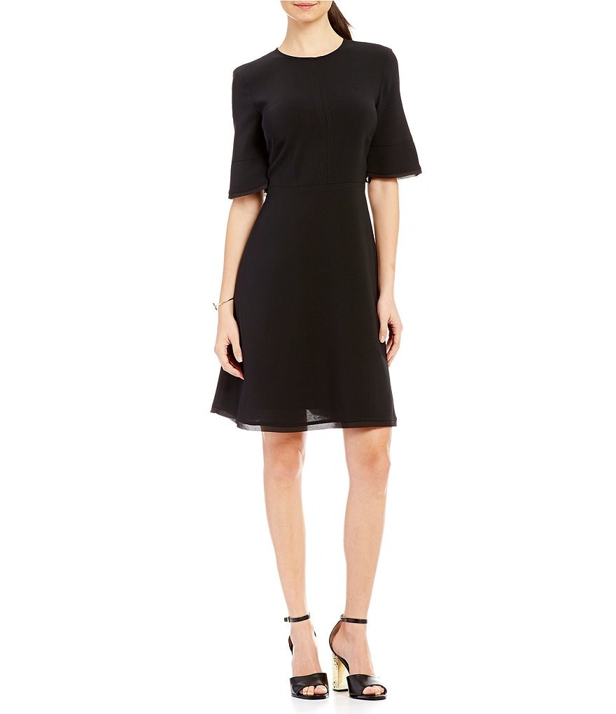 DKNY Short Sleeve Fit-and-Flare Dress