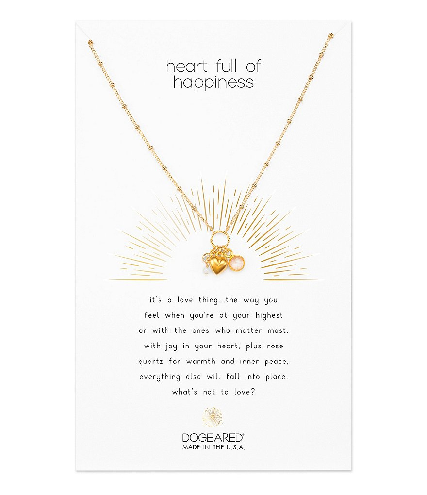 Dogeared Heart Full of Happiness Charm Necklace