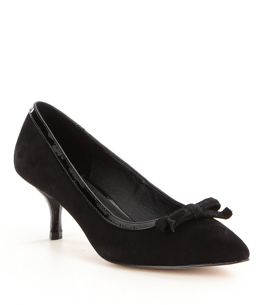 Donald J Pliner Ginni Patent-Trimmed Bow Pointed-Toe Slip-On Pumps