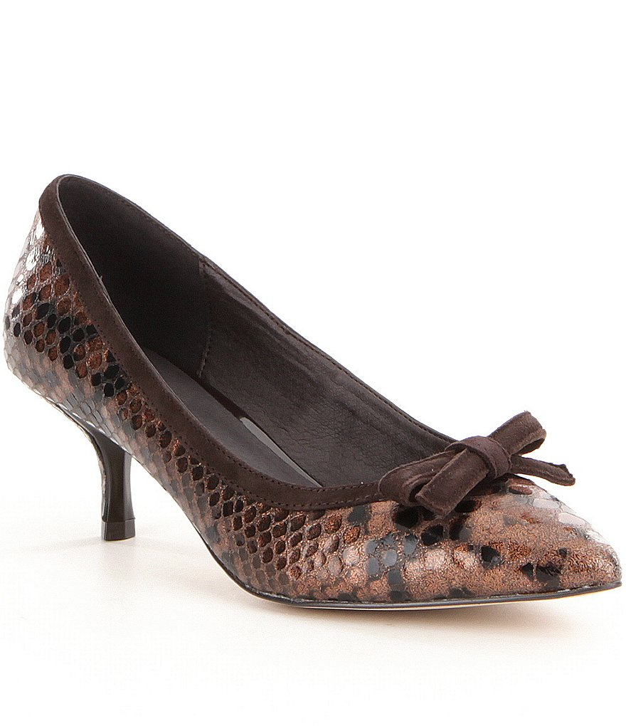 Donald J Pliner Ginni Snake Embossed Bow Detail Pointed Toe Pumps