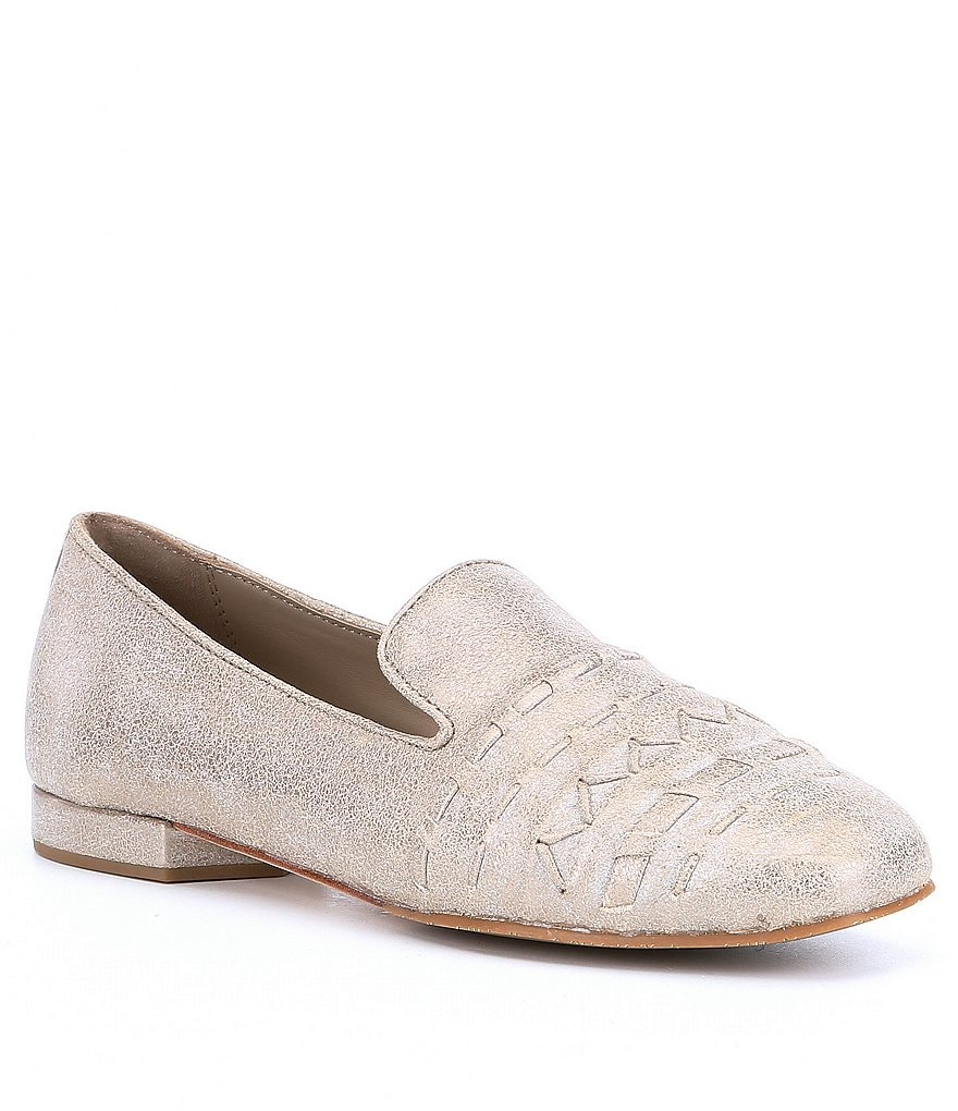 Donald Pliner Haylie Metallic Weave and Whipstitch Loafers