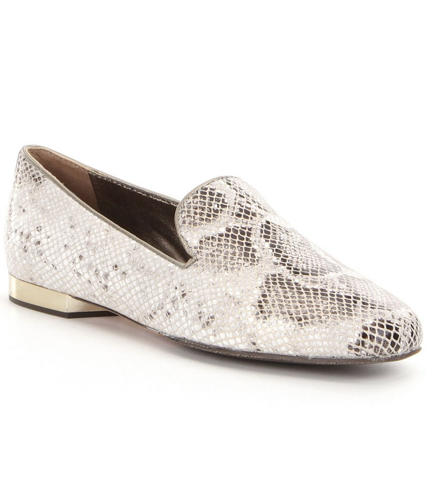 Donald J Pliner Hazel Glitter Python Print Leather Loafers