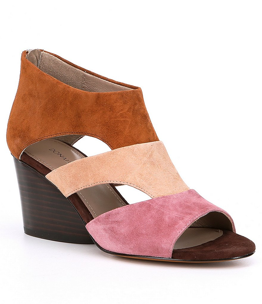 Donald Pliner Suede Jenkin Color Block Suede Cut Out Peep Toe Wedges
