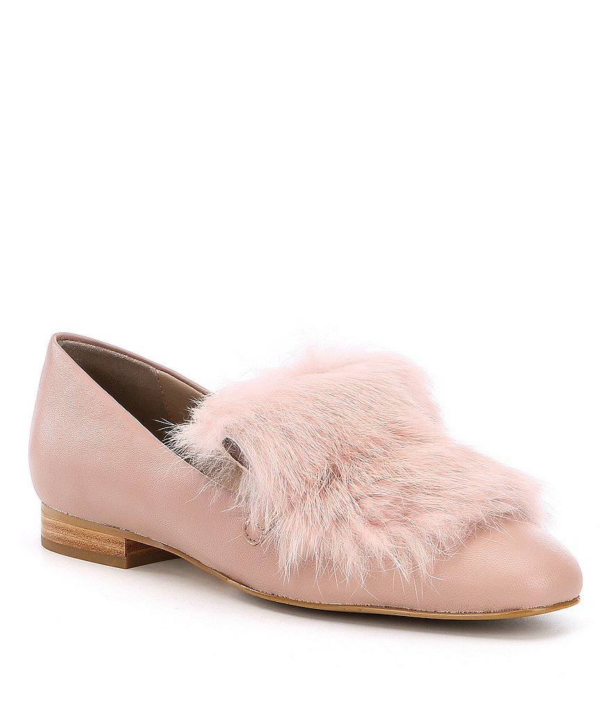 Donald J Pliner Lilian Leather Rabbit Fur Loafers