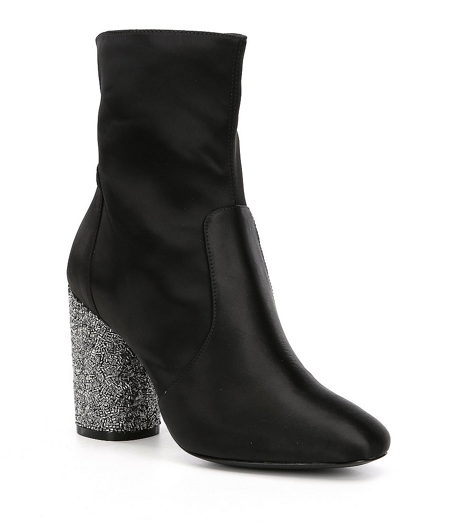 Donna Karan Alley Satin Glitter Block Heel Dress Booties