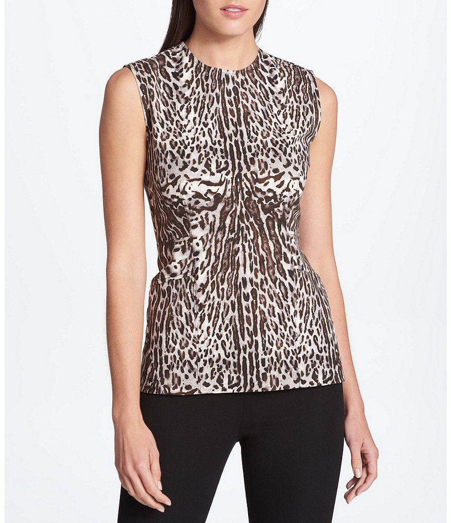 Donna Karan New York Animal Print Seamed Top