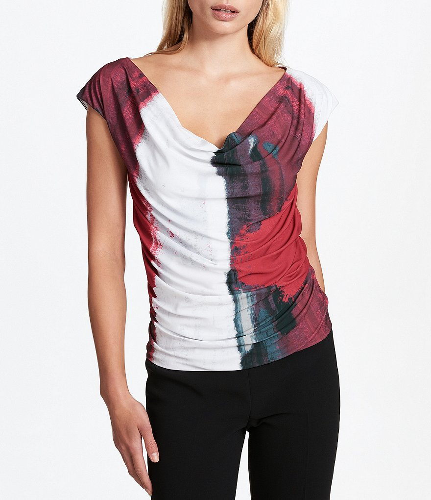 Donna Karan New York Cowl Neck Draped Front Abstract Print Matte Jersey Top