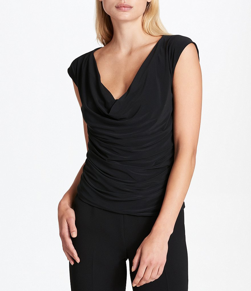 Donna Karan New York Cowl Neck Draped Front Matte Jersey Top