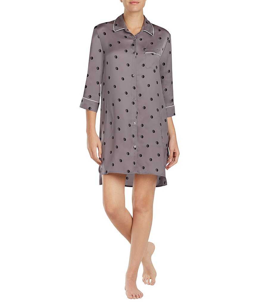 Donna Karan Dotted Washed Satin Sleepshirt
