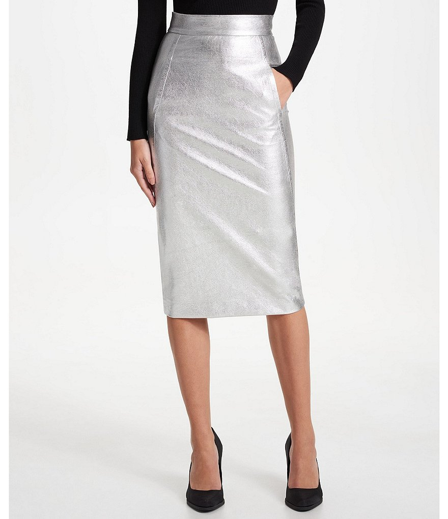 Donna Karan New York Metallic Faux Leather Midi Pencil Skirt