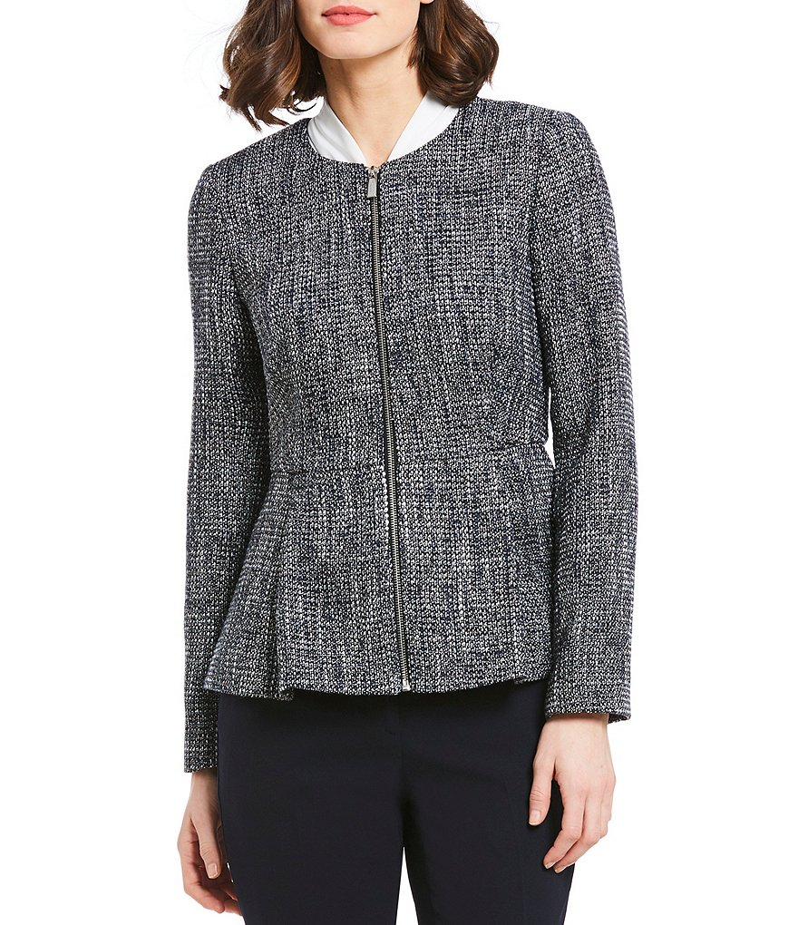 Donna Karan New York Metallic Tweed Zip-Front Peplum Hem Jacket